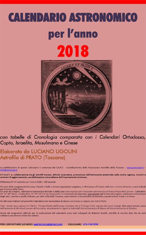 Calendario Copto.Immagine Cover Calendario Astronomico Caat 2018 Jpg